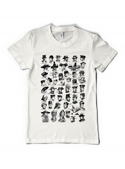Vintage Hats Print T shirt - Woman's