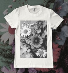Floral T Shirt - Black & White Flowers - Women's