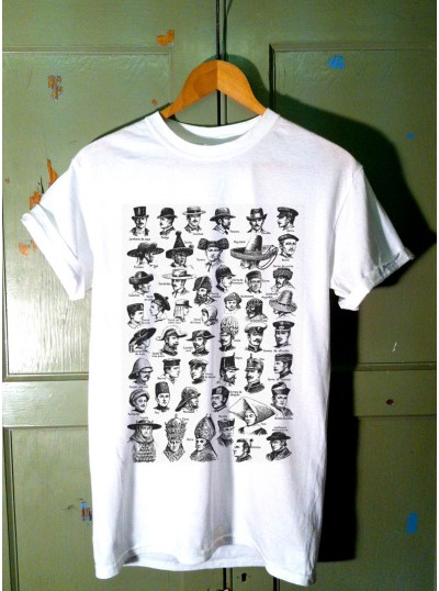 Vintage Hats Print T shirt - Men's - White